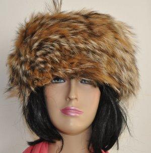 Sombrero de piel blanco-marrón Cuero