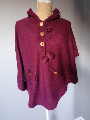 Only Poncho en tricot bordeau