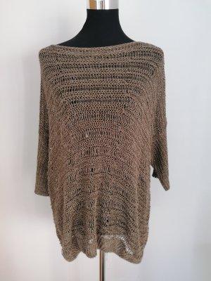 Opus Szydełkowany sweter szaro-brązowy-jasnobrązowy