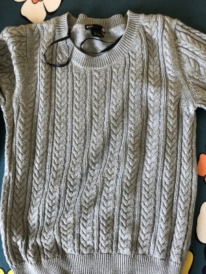H&M Basic Maglione a maniche corte argento-grigio chiaro
