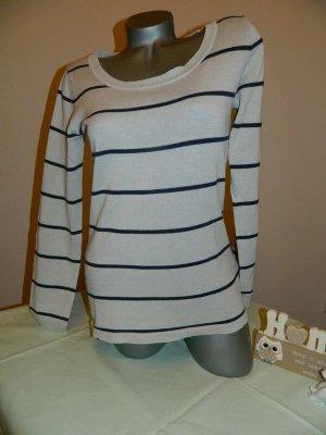 AJC Kraagloze sweater lichtgrijs-zwart Acryl