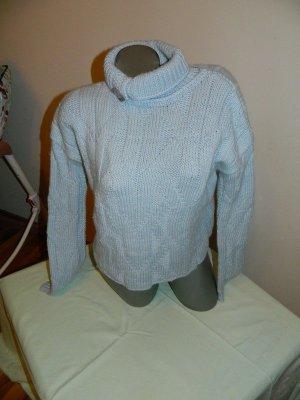 Handmade Knitted Sweater light blue mixture fibre