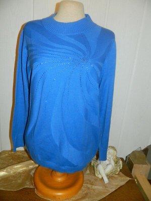 Atelier Goldener Schnitt Cienki sweter z dzianiny niebieski Bawełna