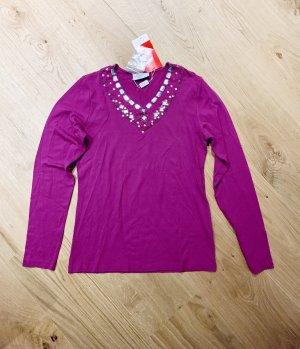 Damen  Pullover/ langarm Shirt Longsleeve Top Secret mit Strass pink V- neck  gr. 36/S