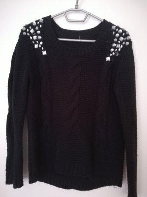 Cable Sweater black-silver-colored