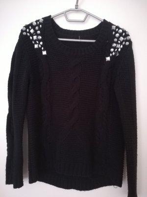 Jersey trenzado negro-color plata