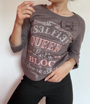 Damen Pullover Pulli Sweater Aubergine Schleife vintage