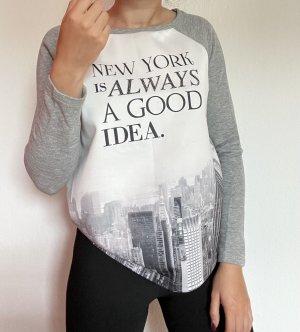 Damen Pullover Pulli Sweater grau weiß Memories Skyline