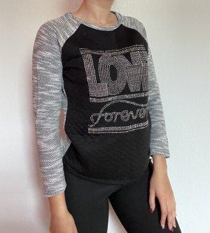 Damen Pullover Pulli Sweater schwarz Silber grau Glitzer