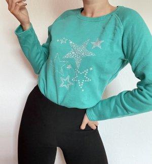Damen Pullover Pulli Sweater Türkis grün blau vintage Sterne