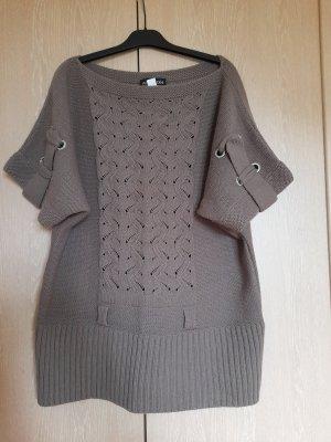 Patrizia Dini Długi sweter bez rękawów szaro-brązowy Bawełna
