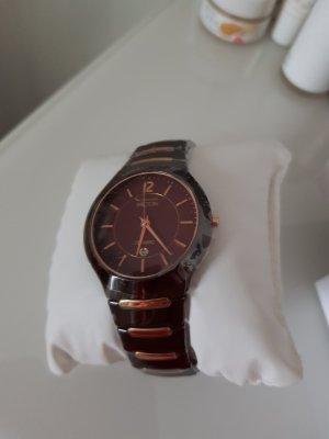 Zegarek analogowy złoto-brązowy