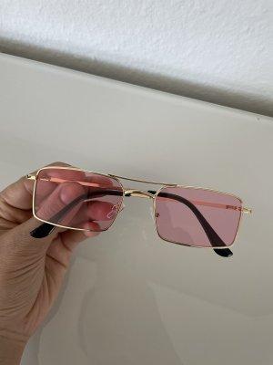 Damen Retro Sonnenbrille rosa Gold