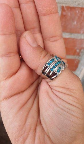 Pierścionek dla par srebrny-niebieski