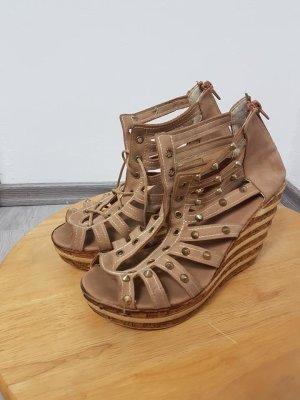 Platform High-Heeled Sandal ocher