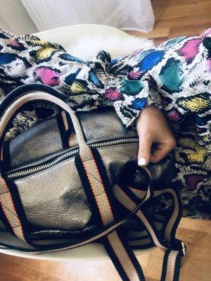 Damen Rucksack Tragerücksack Leder metallic Handtasche  2 in1
