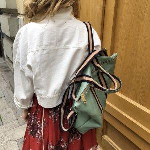 Damen Rucksack Tragerücksack Leder Mint Handtasche 2 in 1