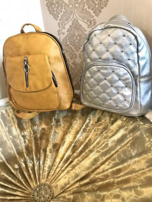 Trekking Backpack silver-colored-gold orange