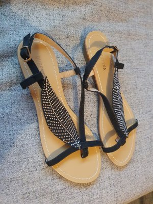Queentina High-Heeled Toe-Post Sandals black-silver-colored