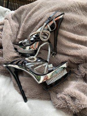 Jumex Platform High-Heeled Sandal black-silver-colored