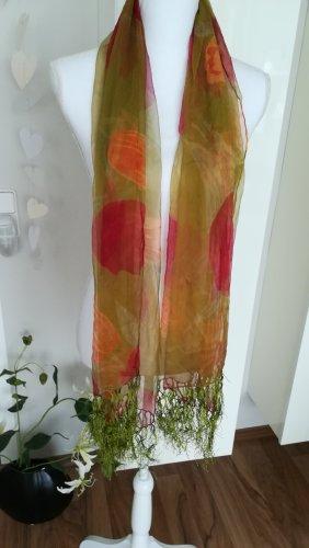 Damen Schal, 150X70 cm, 100% Seide, Floral-Print, transparent, lüftig, leicht