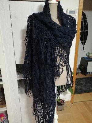 keine Wollen sjaal donkerblauw