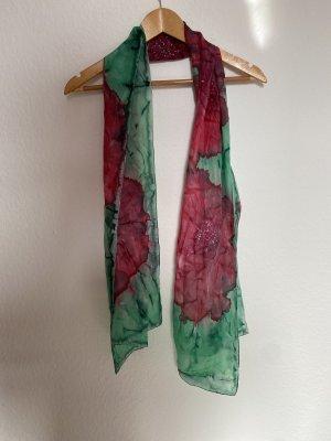 Zijden sjaal framboosrood-groen