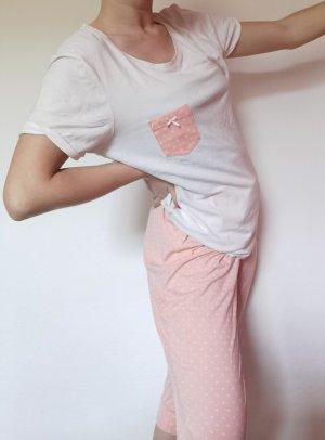 Vintage Piżama biały-różany