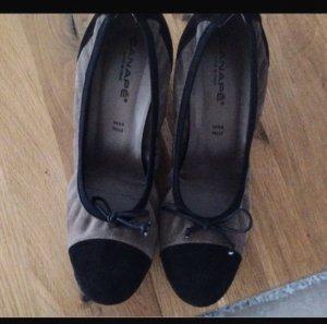 Sandalo con tacco nero-grigio chiaro