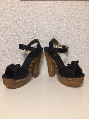Tacones de plataforma negro-marrón claro
