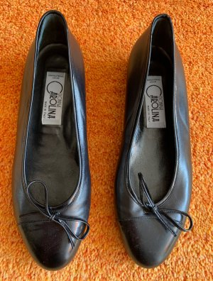 Donna Carolina Ballerines en cuir verni noir cuir