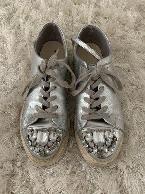 Chaussures à lacets gris clair-argenté