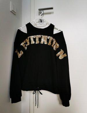 Damen Schwarzer Pullover mit Pailletten in vintage retro Stil Gr.36 S