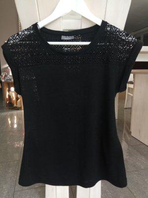 Damen Shirt gr.xs schwarz mit Spitzeneinsatz
