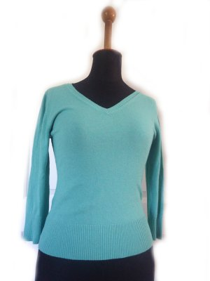 Damen Shirt helltürkis Gr. 40 gebraucht Second Hand kurz Strick H&M mint