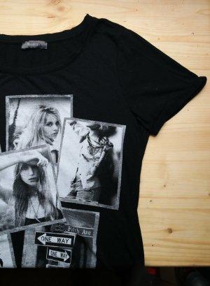 Damen Shirt in schwarz mit schwarz weiß Foto Größe XS