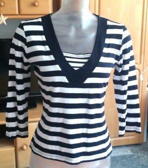 Damen Shirt Jersey gestreift Gr.S in Schwarz/Weiß