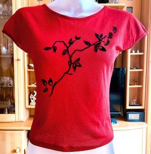MNG Koszulka z dekoltem w łódkę ciemnoczerwony-czarny
