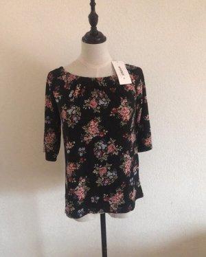 Damen Shirt von My Hailys off Shoulder schwarz mit Blumenmuster 3/4 Ärmel Gr.S Neu mit Etikett