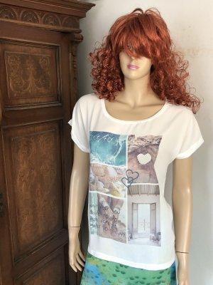 17&co Shirt met print wit-turkoois