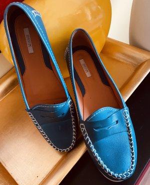 Geox Respira Sneaker slip-on blu acciaio Pelle