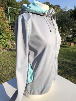 Damen Softshelljacke, Mountain Designs, hellgrau/türkis, Größe S, Nagelneu