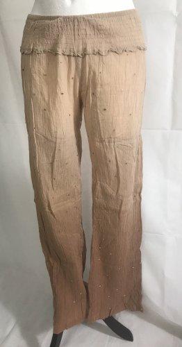 Damen Sommer Hose mit Pailletten Beige Braun M