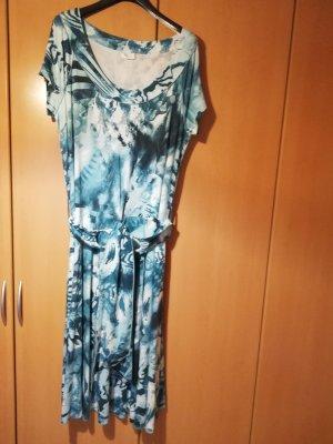 Damen Sommerkleid mit Gürtel von Bonita, Gr. XL, grün gemustert