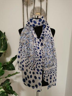 Damen Sommerschal Webschal Halstuch weiß blau gepunktet Onesize