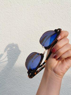 Damen Sonnenbrille blau leopard schwarz Verlauf vintage