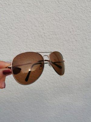 Damen Sonnenbrille braun groß vintage gold