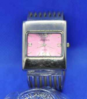 Claires Analog Watch silver-colored-neon pink