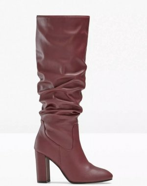 Damen Stiefel aus Lederimitat in Bordeaux 39