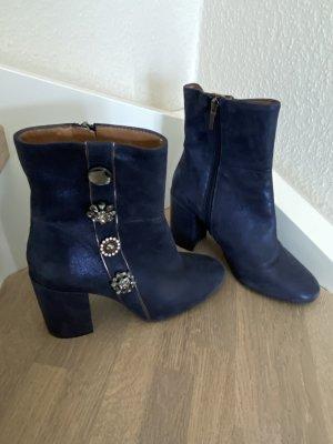 Hammerstein Zipper Booties dark blue leather